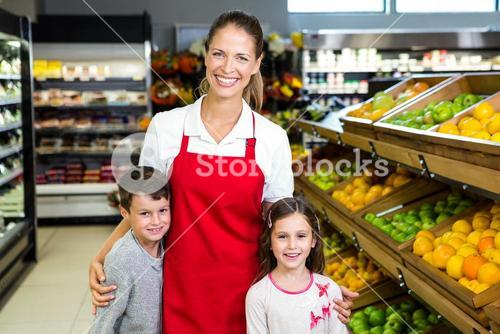 Female worker with two kids