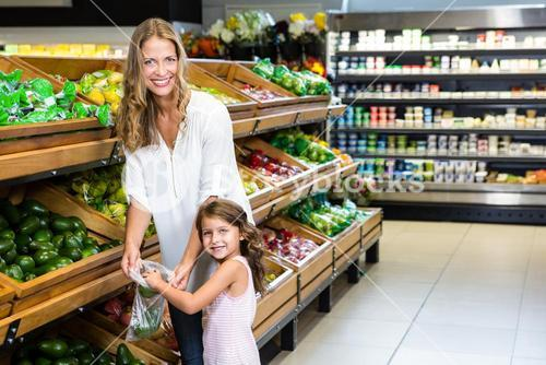 Mother and daughter doing shopping