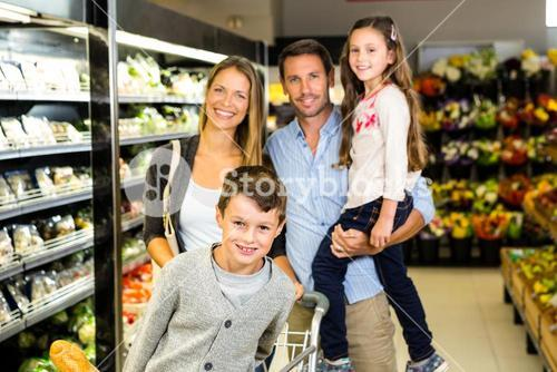 Portrait of family doing shopping