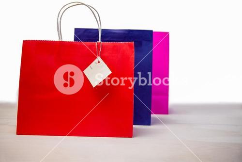 Shopping gift bags with tags
