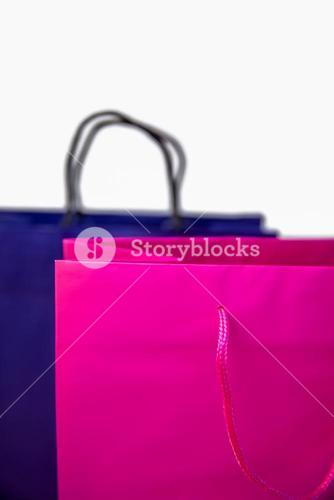 Shopping gift bags on desk