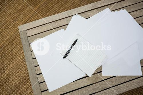 Papers on wooden table
