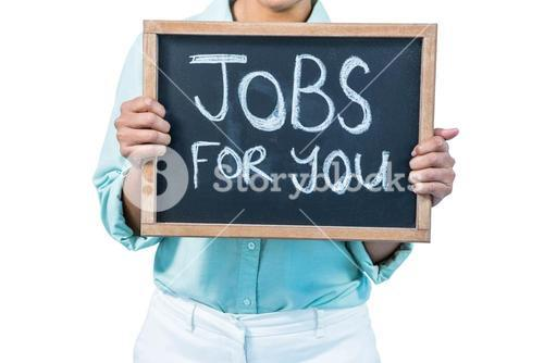 Businesswoman holding a signboard jobs for you