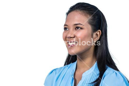 Side view of smiling businesswoman