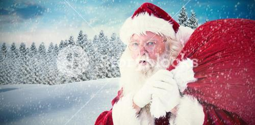 Composite image of santa takes care about his sack