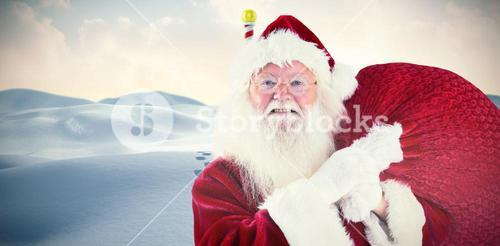 Composite image of jolly santa carries his sack