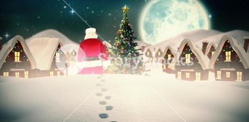 Composite image of rear view of santa claus holding a sack