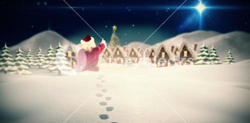 Composite image of santa claus points at something