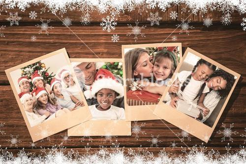 Composite image of happy family at christmas