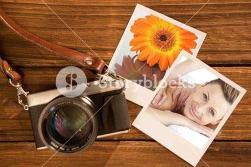 Composite image of cheerful woman enjoying a back massage