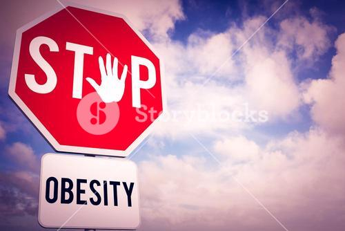 Composite image of stop obesity