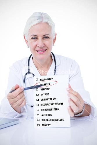 Composite image of portrait of smiling female doctor holding notepad and pen at desk