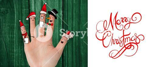Composite image of christmas caroler fingers