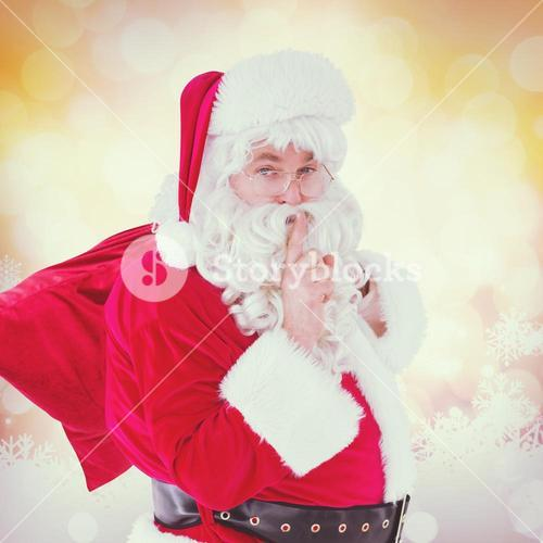Composite image of santa keeping a secret and holding his sack