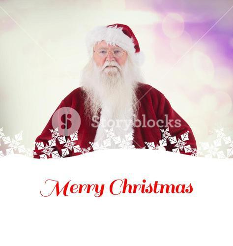 Composite image of santa claus measures his belly