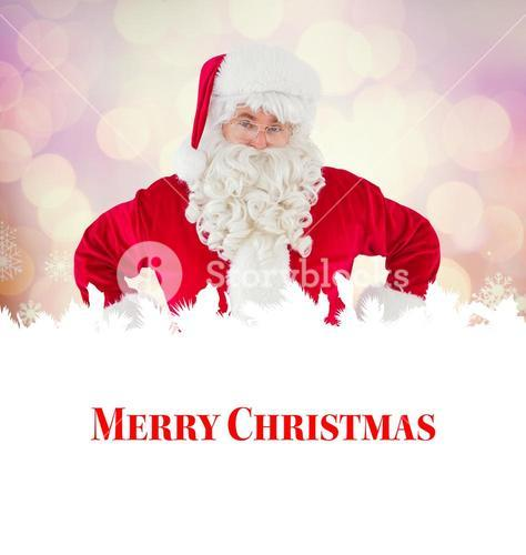 Composite image of cheerful santa claus with his hands on hips