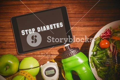 Stop diabetes against tablet on healthy persons table