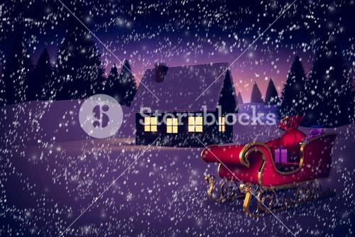 Composite image of red and gold santa sleigh