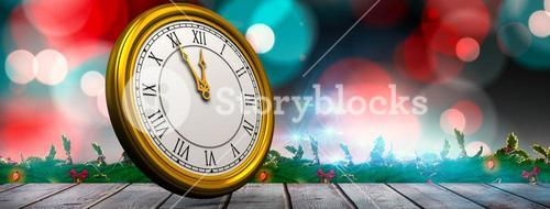 Composite image of illustration of a clock