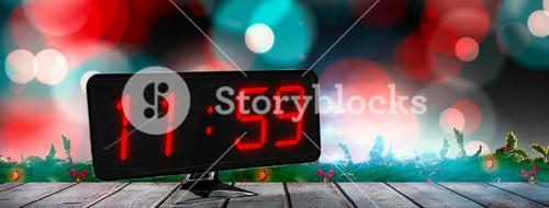 Composite image of time displayed on digital clock