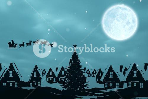 Composite image of christmas scene silhouette