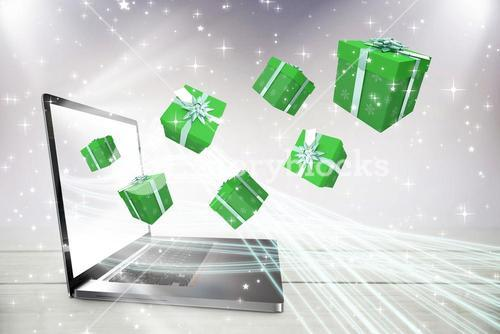 Composite image of green presents