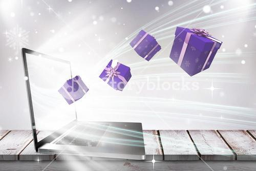 Composite image of purple presents