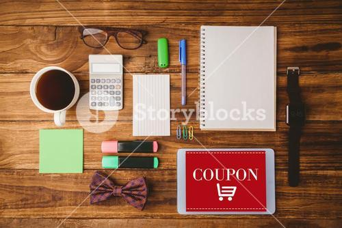 Composite image of overhead of students desk