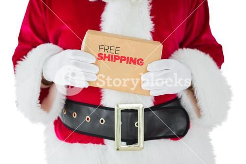 Composite image of mid section of santa claus holding box