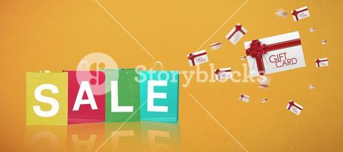 Composite image of sale gift bags