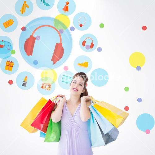 Composite image of thoughtful brunette holding shopping bags