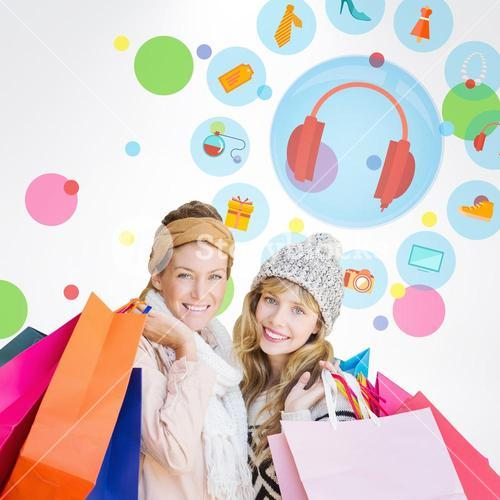 Composite image of smiling women looking at camera with shopping bags