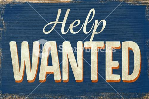 A Vintage help wanted sign