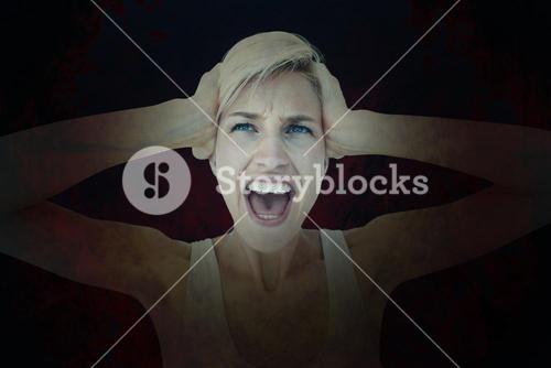 Composite image of angry blonde screaming and holding her head