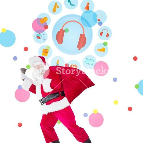 Composite image of santa walking with his sack and bell