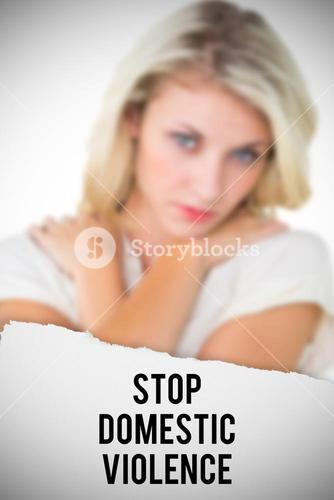 Composite image of sad pretty blonde looking at camera