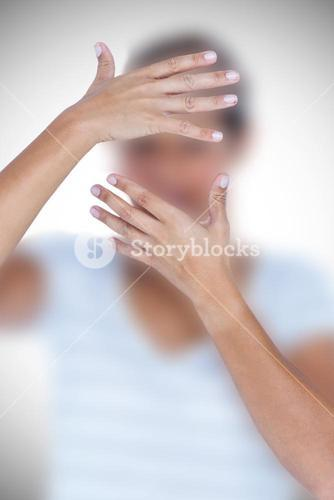Composite image of close-up of upset woman covering face with hands
