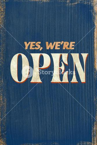 A Vintage blue open sign