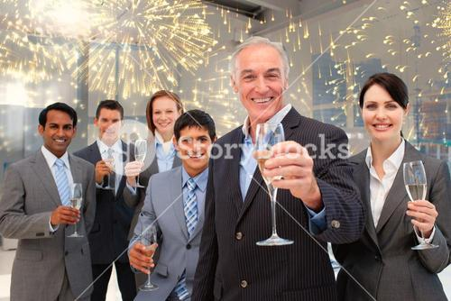 Composite image of happy diverse business group toasting with champagne