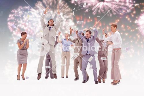 Composite image of very happy people with money falling from the sky