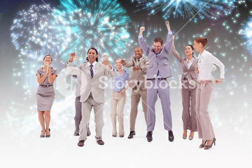 Composite image of very enthusiast people jumping and raising their arms