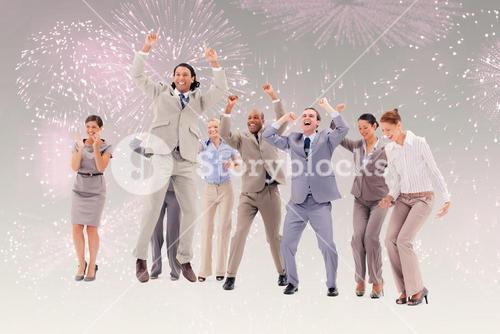 Composite image of very enthusiast business people jumping and raising their arms