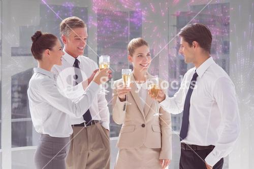 Composite image of smiling team of business people clinking their flutes of champagne