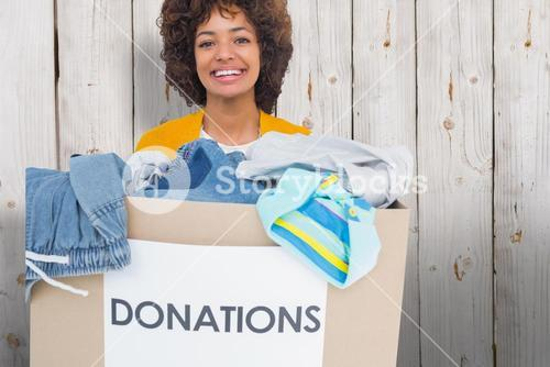 Composite image of woman participating at charity