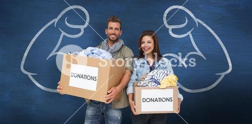 Composite image of portrait of a happy young couple with clothes donation