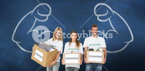 Composite image of portrait of three smiling young people with donation boxes