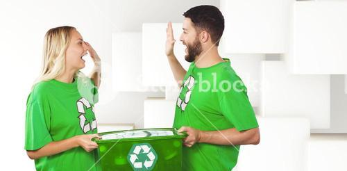 Composite image of smiling volunteer doing high five while holding container