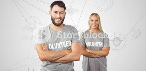 Composite image of portrait of cheerful volunteer in office
