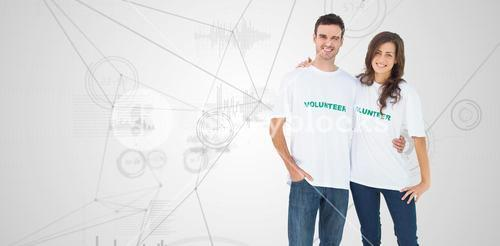 Composite image of two cheerful people wearing volunteer tshirt