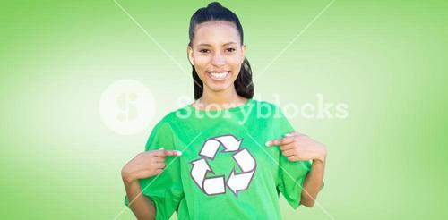 Composite image of happy environmental activist in the park